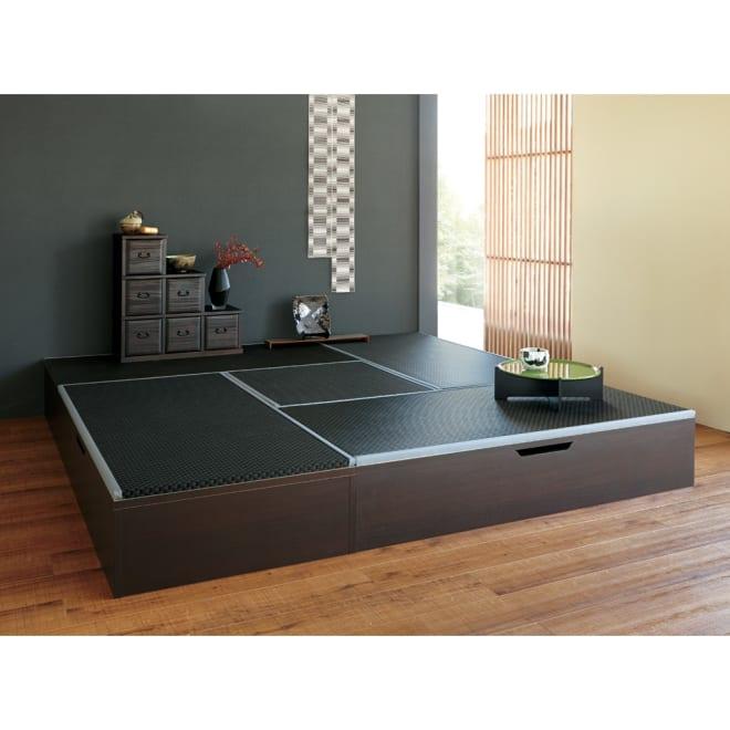 美草跳ね上げ式ユニット畳 畳単品 高さ33cm 半畳 高さ33cmタイプ(ダークブラウン×ブラック)