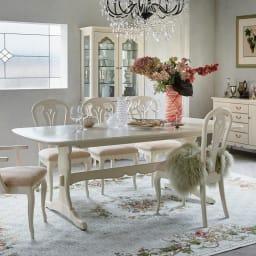 エレガントクラシックシリーズ 伸長式ダイニングテーブル 幅165cm~205cm ホワイトウォッシュ(伸長時)