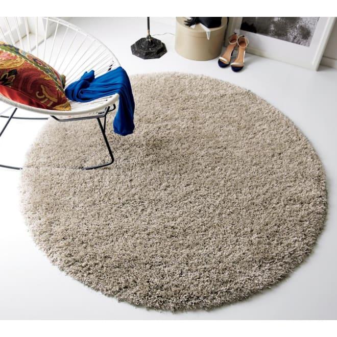 トルコ製 Marika/マリカ ミックスシャギーラグ 円形 約径160cm (イ)グレー