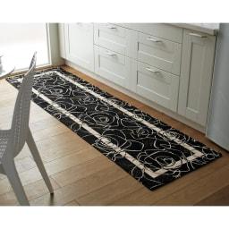 イタリア製 Camelia カメリア ゴブラン織キッチンマット ブラック ※写真は約65×240cmタイプです。