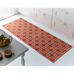 イタリア製マルチクロス Rita/リタ キッチンマット約65×120・180・240cm(3サイズ) オレンジ ※写真は約65×180cmです。