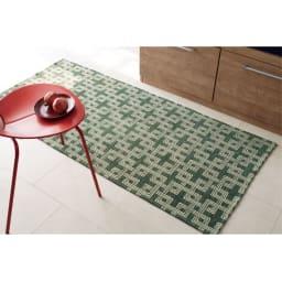 イタリア製マルチクロス Rita/リタ キッチンマット約80×180・240cm(2サイズ) グリーン ※写真は約80×180cmタイプです。
