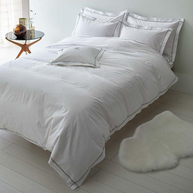 ホテル仕様超長綿サテンカバーリング Ciel/シエル 掛けカバー ライトグレー ※お届けは掛けカバーのみです。