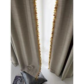 幅100×丈105cm(フリンジ付き遮光カーテン(2枚組)) 写真