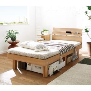天然木調・頑丈すのこベッド 圧縮ポケットコイルマットレス 写真