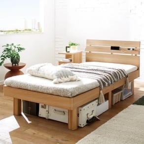 天然木調・頑丈すのこベッド 国産ユーロトップポケットコイルマットレス 写真