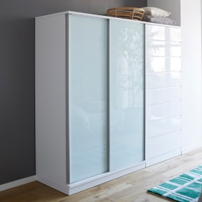 Milath/ミラス スライドワードローブ ガラス扉タイプ 幅120.5cm 写真