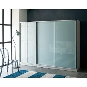 Milath/ミラス スライドワードローブ ガラス扉タイプ 幅160.5cm 写真