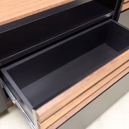 AlusStyle/アルススタイル  リビングシリーズ バックパネル付きコーナーテレビ台 幅119.5cm 引き出しには開閉がスムーズな古スライドレール付き。奥までしっかり引き出すことができます。