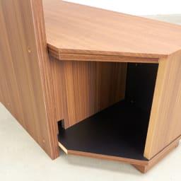 AlusStyle/アルススタイル  リビングシリーズ バックパネル付きコーナーテレビ台 幅119.5cm コーナー背面はオープンタイプなので配線も楽にできます。