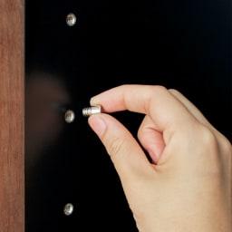Alus Style/アルススタイル コンパクトホームオフィス ブックシェルフ幅40.5cm 棚ダボは安定感のあるネジ込み式。6cmピッチで調節可能。