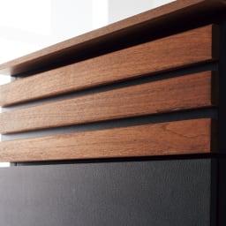AlusStyle/アルススタイル シェルフシリーズ 上台:オープン&下台:引き出し 幅80cm高さ192cm ウォルナット材とレザー調の表面材が高級感を演出。