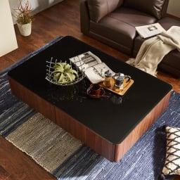 収納付きガラス天板リビングテーブル120cm×80cm[国産]