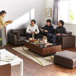 収納付きガラス天板リビングテーブル120cm×80cm[国産] コーナーソファセットと合わせると来客用のテーブルとしても活躍できます。