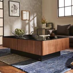 収納付きガラス天板リビングテーブル120cm×80cm[国産] 80cm×120cm ウォルナットイメージ画像