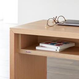 Saari/サアリー カバーリングソファシリーズ デスク180セット テーブル収納部分アップ 本などを入れるのにちょうどよい大きさ