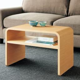 2way 棚付きリビングテーブル [縦横自在] ナチュラル ソファの前でリビングテーブルとして。棚には雑誌やリモコンなどが収納できます。 ※棚収納部内寸サイズ: 約12cmx56cm