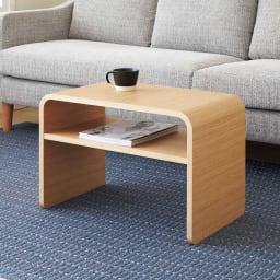 2way 棚付きリビングテーブル [縦横自在] (ア)ナチュラル