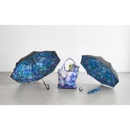名画フリルジャンプ傘&折りたたみ傘セット (ア)モネ(睡蓮) 別売りで同柄のエコバッグもご用意しております。