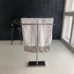 オールステンレス製 バスタオルハンガー 奥行きスリム 2連