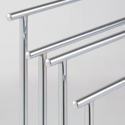 スリムステンレスタオルハンガー 4連 美しい輝きのステンレスクロムメッキ仕上げ。