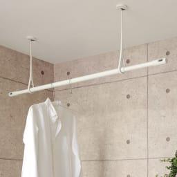 nasta/ナスタ 室内物干し 天吊りタイプAir Hoop(1本) (イ)ホワイト×グレー2本使用例(物干しざおはH45303で販売)