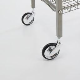 Lueurll/リュエール ニュアンスシルバーランドリー バスケットワゴン4段 キャスター付きで移動自在のサニタリーワゴン。