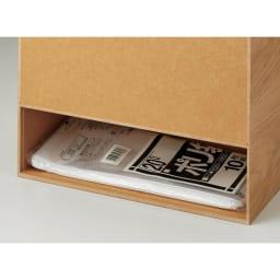曲木の薄型ダストボックス ロー 背面には隠し収納付きで、ゴミ袋のストック収納にも◎