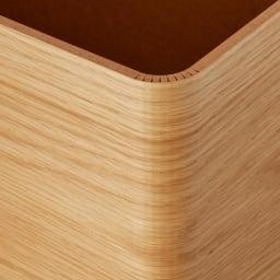 曲木の薄型ダストボックス ロー (イ)ナチュラル