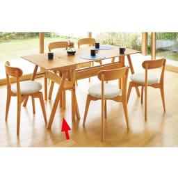 Lierre/リエール ダイニングシリーズ テーブル幅80 コーディネート例 幅80cmテーブルと単品チェア1脚をダイニングセットに追加し5人掛けに。来客時に便利。