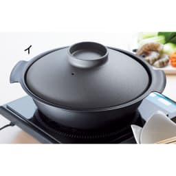 ステンレス3層鋼DONABE 土鍋24cm+蒸し板 モダンなダークグレー×ブラック(写真は27cmです)