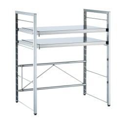 頑丈ステンレス伸縮天板ラック 2段 棚板は4cmピッチで動かせます。