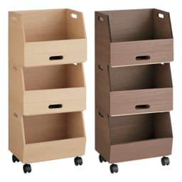 収納スタッキングボックス 3段 引き出し2杯付き 左から(ア)ナチュラル、(イ)ブラウン