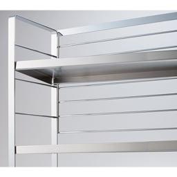 ステンレス棚スパイスラック ポット無し 棚板は5cmピッチの可動式。簡単に段を変えられます。