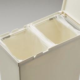 TOSTE/トステ カウンター下ダストボックス 2個組 ペール内はゴミ袋を2つ掛けて、2分別にして使用することも可能です