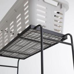 薄型アイアンワゴンバスケット・キッチン収納ワゴン 上部にバスケットの底がしっかりフィット。