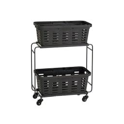 薄型アイアンワゴンバスケット・キッチン収納ワゴン (イ)ブラック