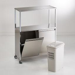 ステンレス作業台ワゴン ダスト1分別 幅37奥行30cm ペールは取り出して洗えるので、清潔を保てます。