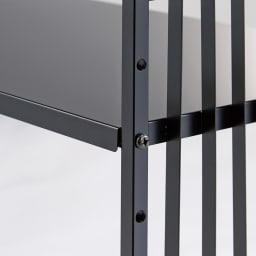 Hanji/ハンジ 格子レンジ上ラック 幅85~110cm 棚板の高さは5cm間隔・6段階で調節可能。