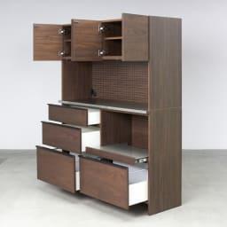 Lana/ラナ ステントップボード・キッチンボード 幅140cm コンパクトでも充実の収納ボリュームでキッチンもあっという間にすっきり。
