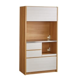 Milovy/ミロヴィ キッチンボード オープンボード 幅96cm (ア)ホワイト(木目)×ナチュラル
