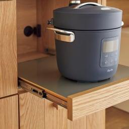 Torua/トルア キッチンボード 幅120cm カウンター スライドテーブル家電収納部には湯気の出る家電を置くのに最適。