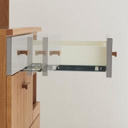 Torua/トルア キッチンボード 幅120cm キッチンボード 引出しにはソフトクローズレールで静かになめらかに開閉が出来ます。