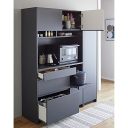 Enkel/エンケル キッチンシリーズ 幅105cm キッチンボード シンプルなつくりながら充実の収納力のキッチンボード
