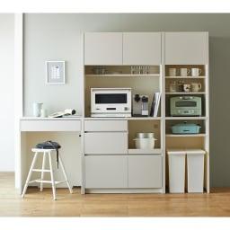 Enkel/エンケル キッチンシリーズ 幅50cm ユーティリティラック コーディネート例(ア)マットベージュ