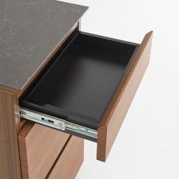 Caato/カット カウンター下収納 チェスト幅40.5cm 高さ70.5cm 引出しの中身はブラックでキレイに化粧されているので、お手入れがしやすい仕様です。