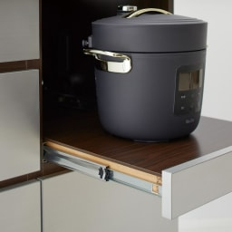 Liam/リアム キッチンカウンター 家電収納 幅161cm 高さ85cm 炊飯器など蒸気の出る家電が使いやすいスライドテーブル