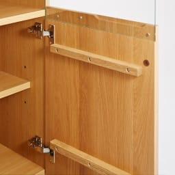 LEDライト付きサイドボードシリーズ LEDキャビネット 幅80cm 扉の前板はオーク天然木製。