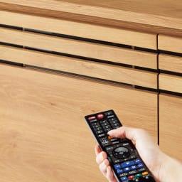 Remonte/ルモンテ リビングシリーズ テレビ台 幅200.5cm 扉・引き出しのスリット部分には3mm厚のガラス窓仕様。閉めたままリモコン操作が可能です。
