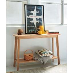オーク天然木 リビングテーブル 棚付きコンソールテーブル [WOODMAN・ウッドマン] エントランスやホールウェイ、玄関や廊下・踊り場。便利に使えるのはリビングルームだけではありません。